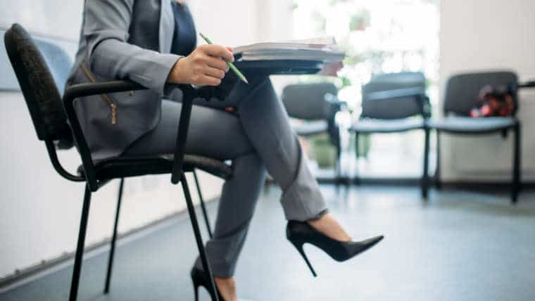 Woman sitting preparing for a job interview